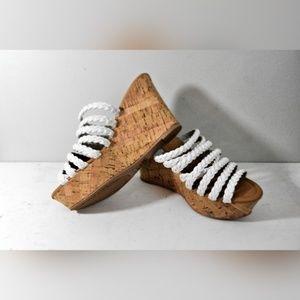 NEW Qupid Cork Wedge Braided Strap Sandals